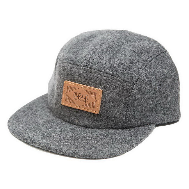 The Trip WOOL 5-PANEL LEATHER PATCH Mütze grau größenverstellbar