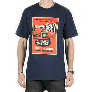 OBEY AMPLIFY YOUR VOICE T-Shirt navy L