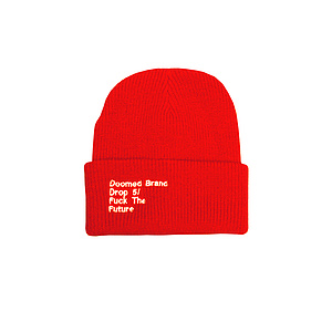 Doomed FUCK THE FUTURE Beanie orange one size fits most